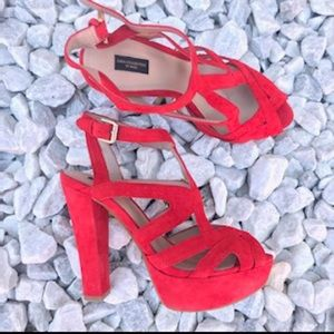 Zara Orange Strappy Velvet block Platform Sandals